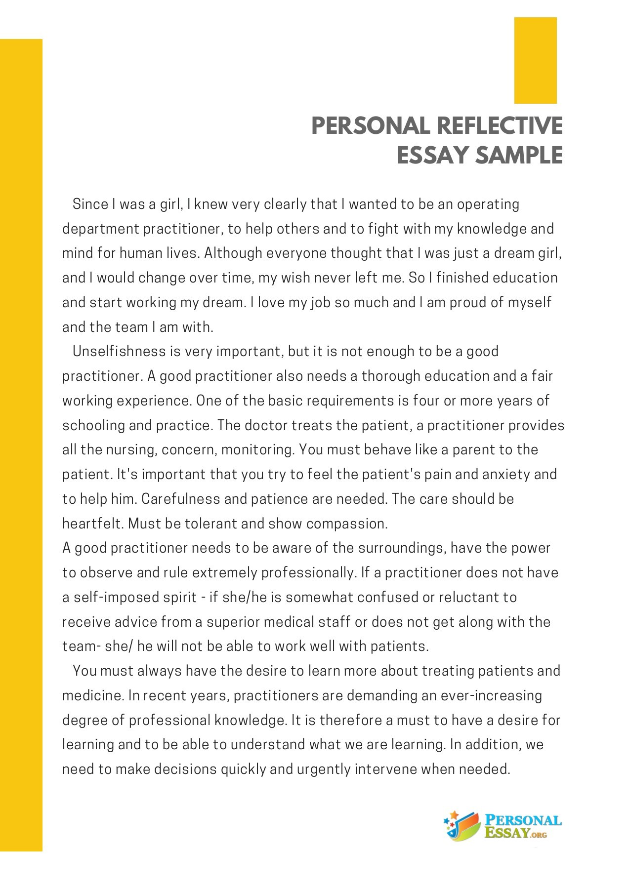 Essay Vs Research Paper  George Washington Essay Paper also How To Start A Proposal Essay Personal Reflective Essay Sample  Pubhtml High School Admission Essay