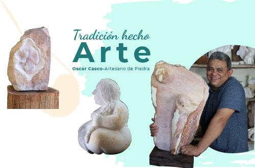 Oscar Casco, artista 100% nicaragüense transforma la piedra marmolina en arte.