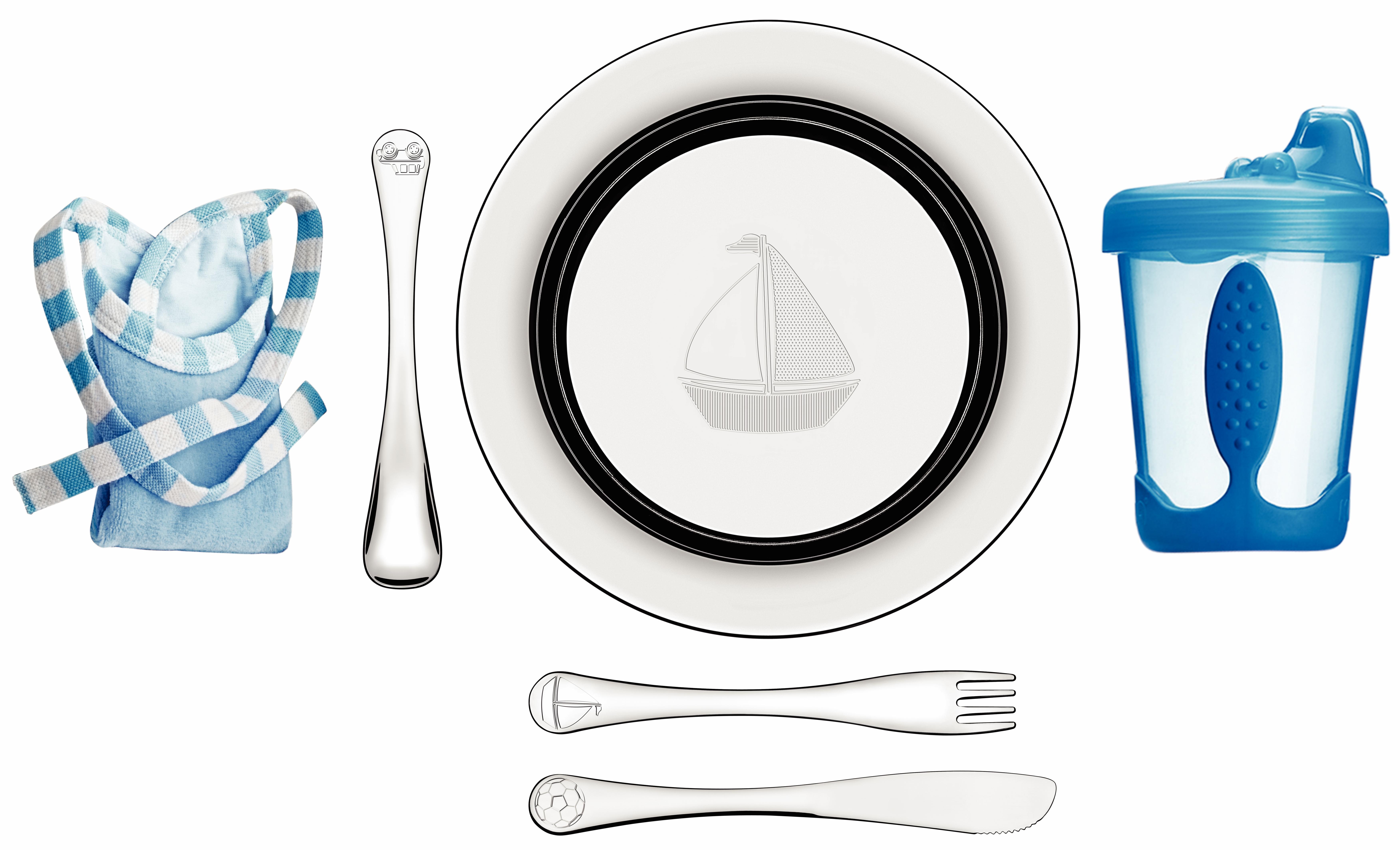Set 6 piezas plato cubiertos para niños.