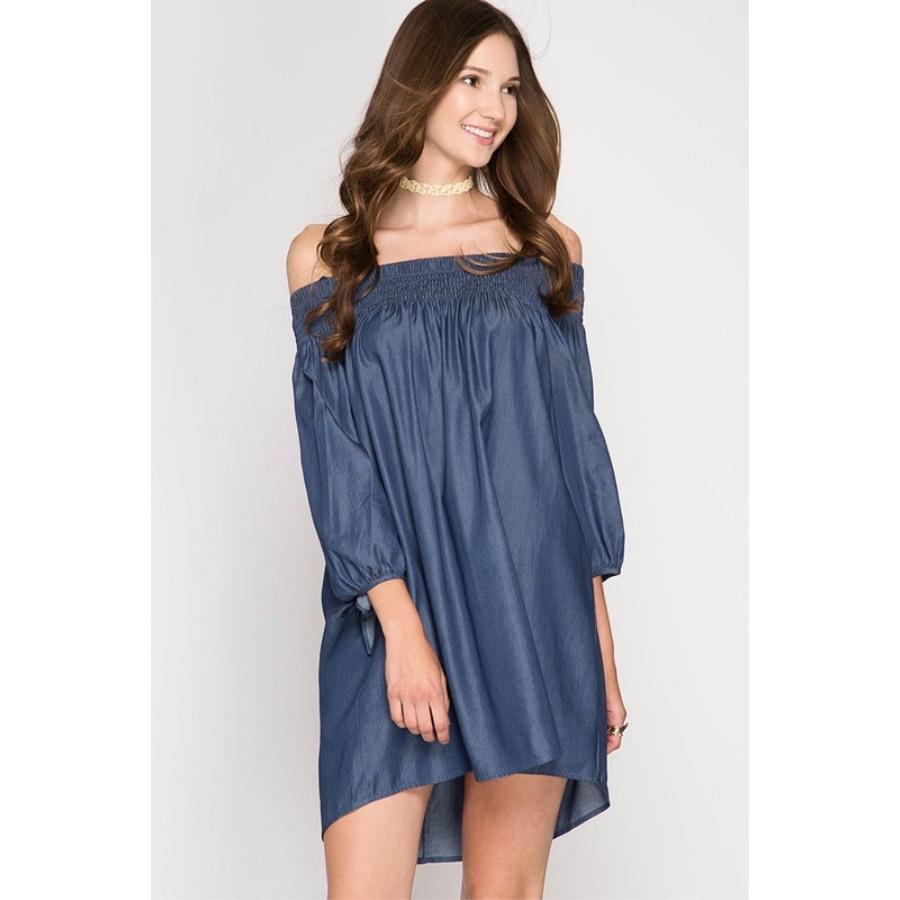 Hermoso vestido Denim casual y muy cómodo, cuello al hombro elástico con mangas ¾