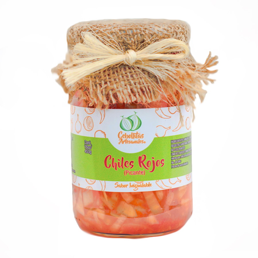 Encurtidos de cebollitas con chiles rojos