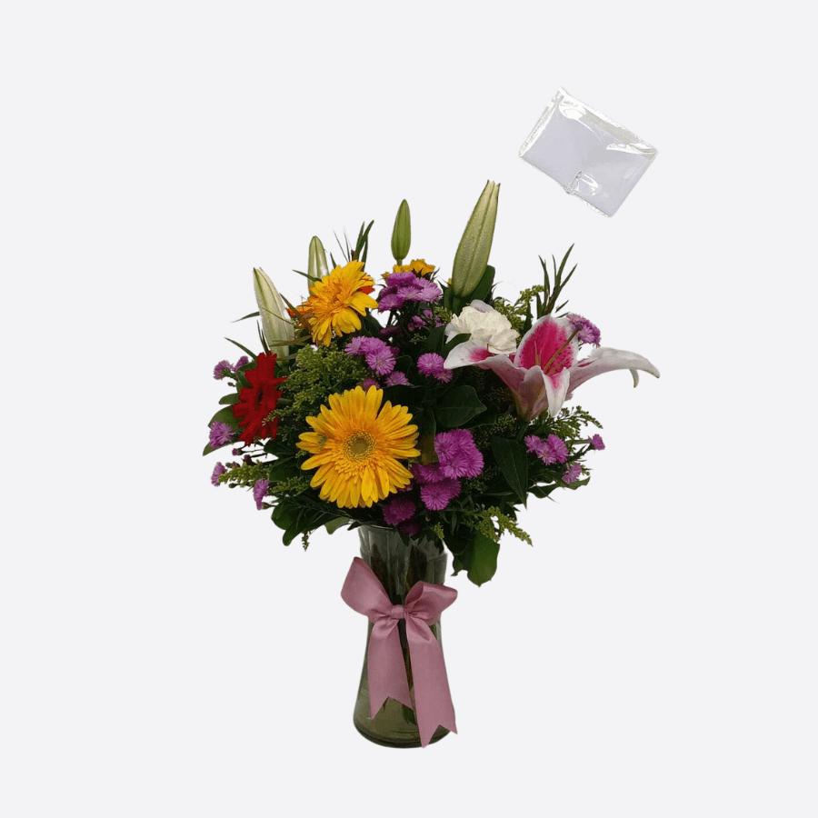 12 Flores primaverales en Jarrón de vidio,