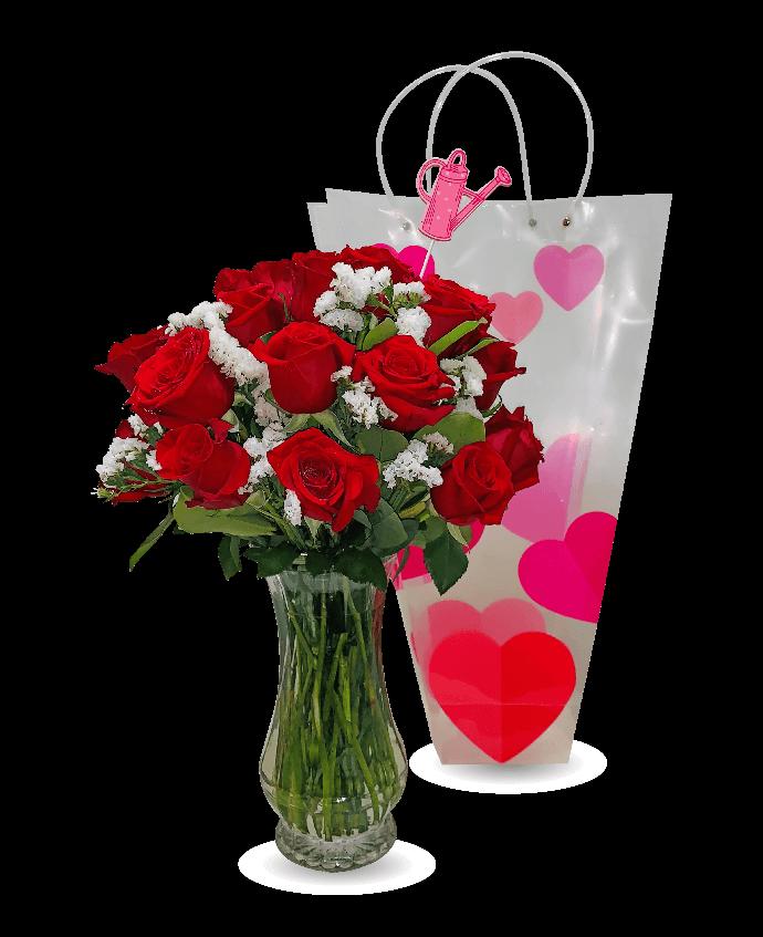 Arreglo de 18 rosas con base clear
