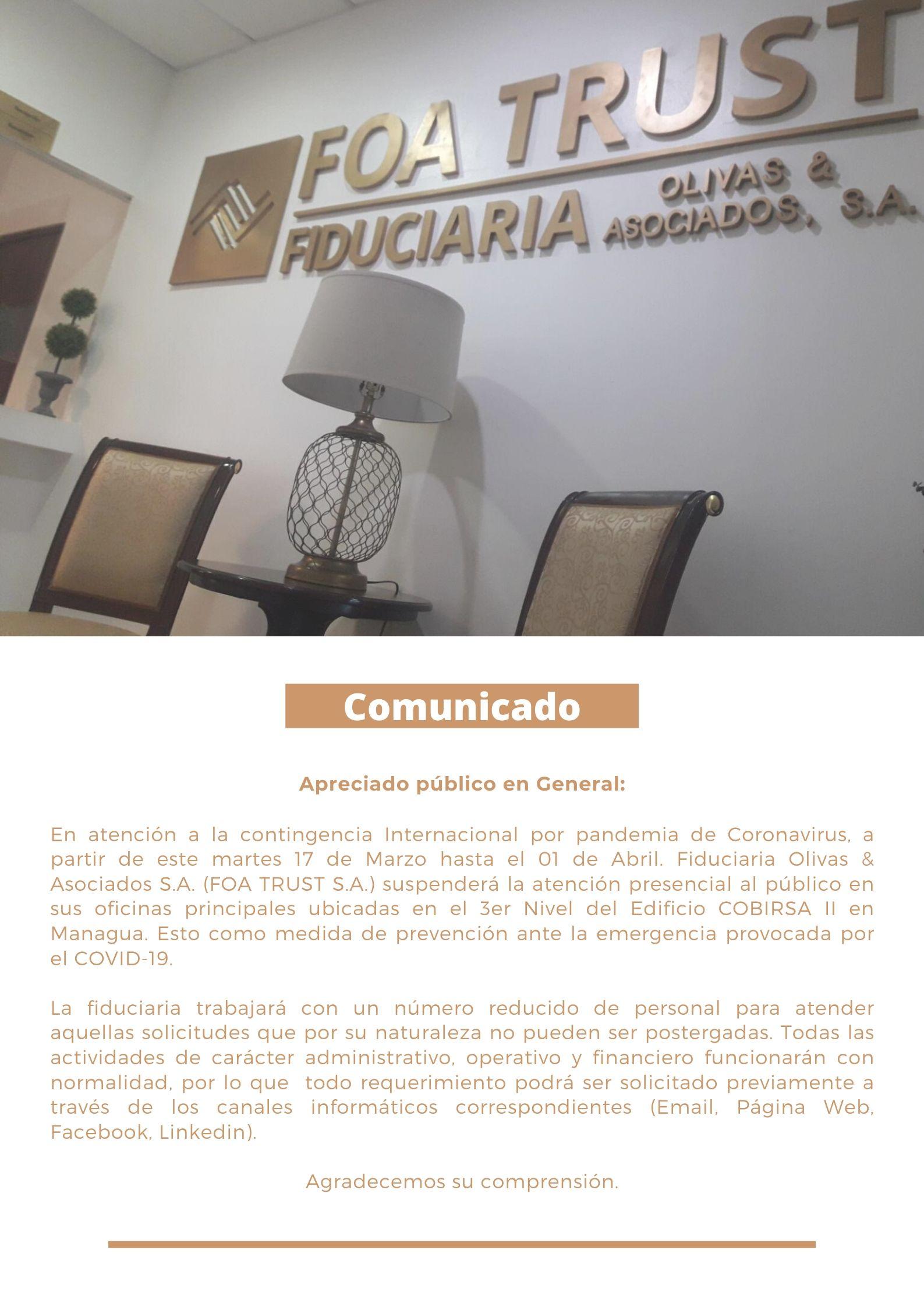 Comunicado Publico General - FOA TRUST (Coronavirus)