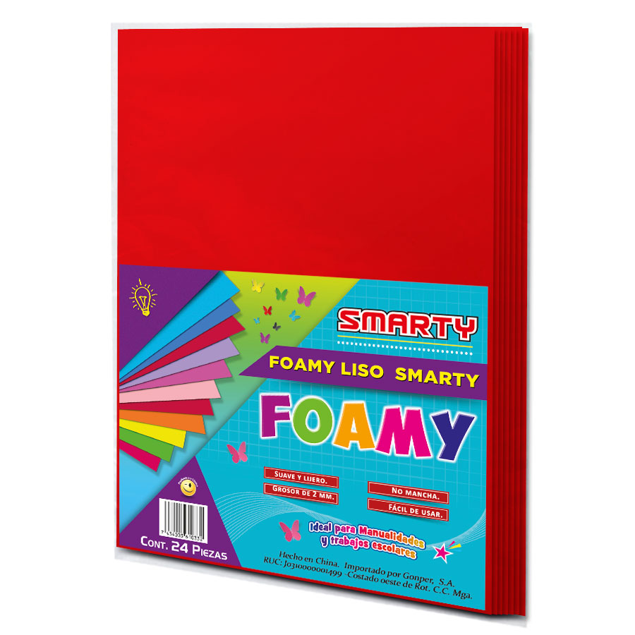 """FOAMY SMARTY T/C ROJO FRESA 8.5X11"""" 2MM PQ-24UD FSC002"""