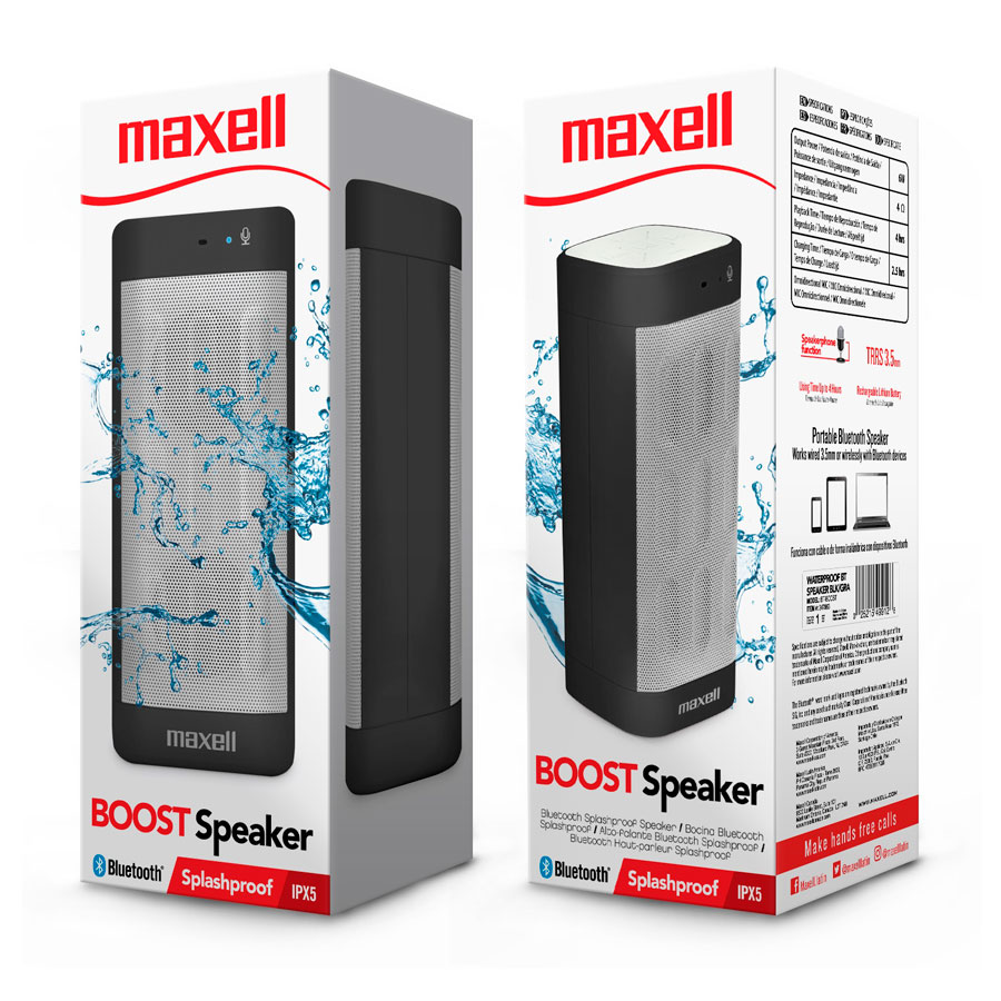 PARLANTE MAXELL C/BLUETOOTH BL/GRIS IMPERMEABLE TRRS 3.5MM BT-BOOST 347864