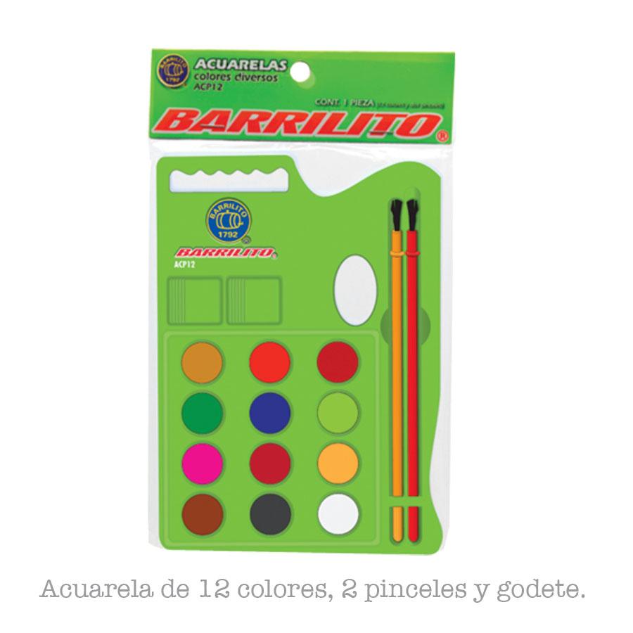 ACUARELA BARRILITO C-PINCEL 12COL ACP12