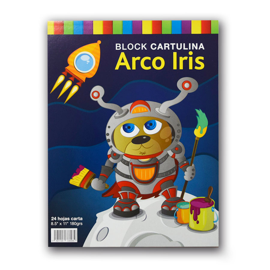 BLOCK IMPERIAL CARTULINA ARCO IRIS 24HJ T-C 180GRS 3698