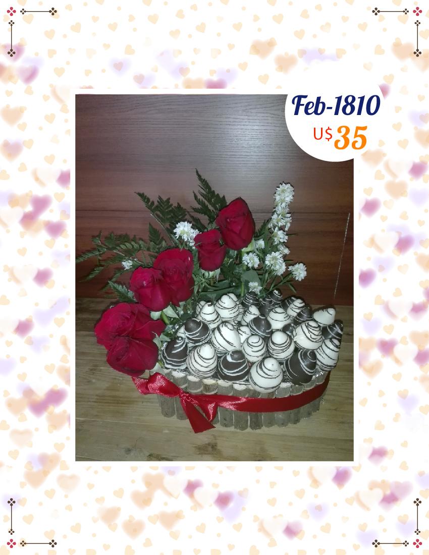 Fresas y rosas en canasta grande de corazon