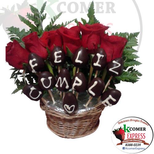 Feliz cumple con 6 Rosa