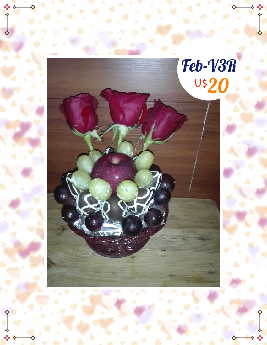 3 rosas, uvas, manzana y fresas con chocolate