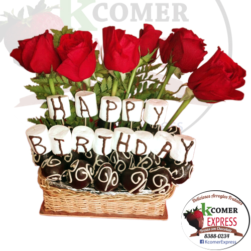 CF-29, Happy Birthday con fresas y rosas