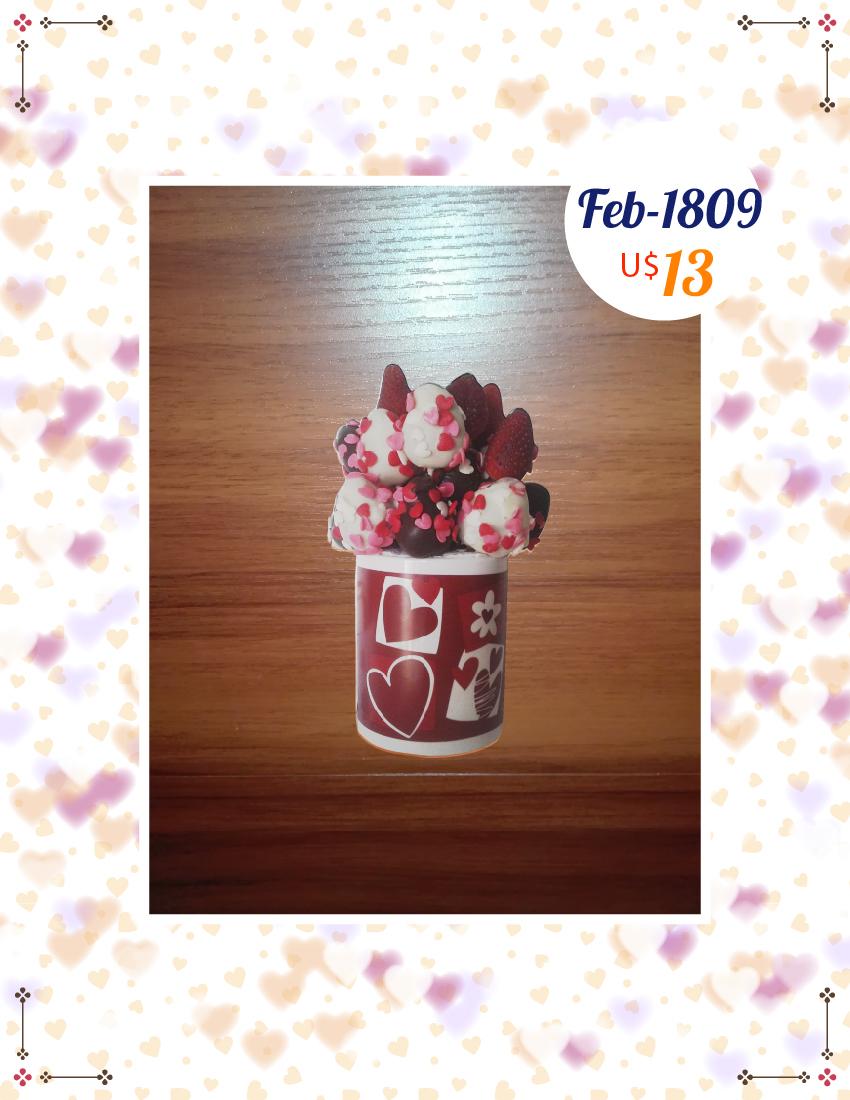 Taza de fresas para enamorados