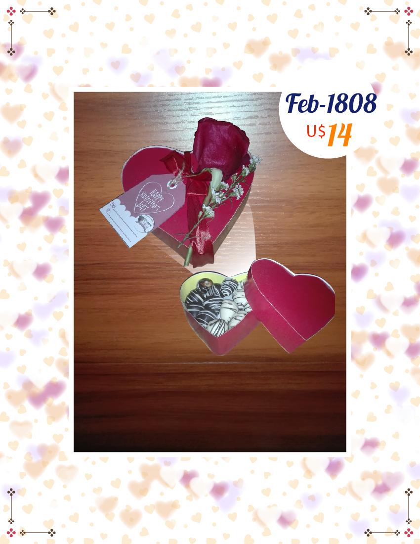 Cajita corazon con 12 fresas y 1 rosa