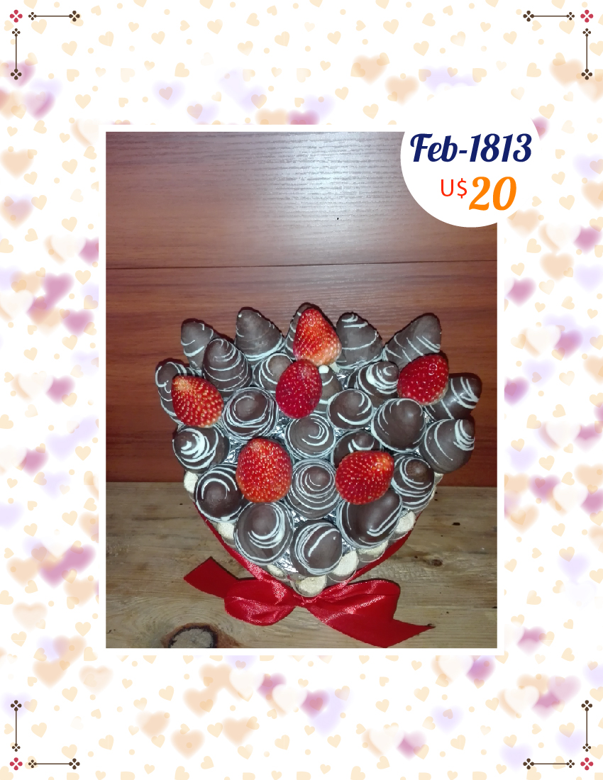 Fresas con chocolate en canasta de corazon pequeña