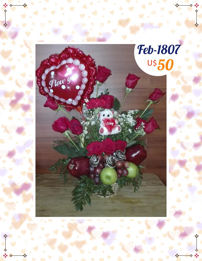 Rosas con peluche y globo