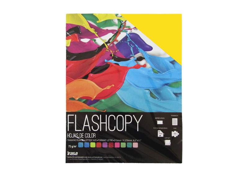 PAPEL BOND DE COLOR FLASHCOPY CARTA AMARILLO 100H