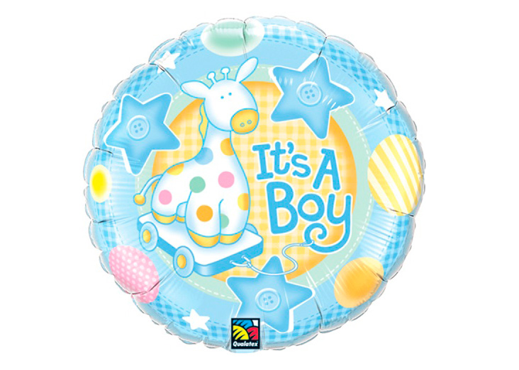 "GLOBO ""18"" RND IT""S A BOY SOFT GIRAFFE"