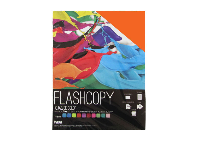 PAPEL BOND DE COLOR FLASHCOPY CARTA NARANJA 100H