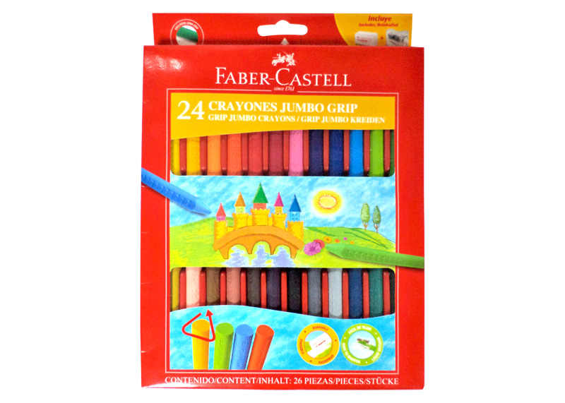 CRAYOLA TRIANGULAR CON GRIP 24 COLORES JUMBO BORRABLE + TAJADOR + BORRADOR ESTUCHE DE REGALO