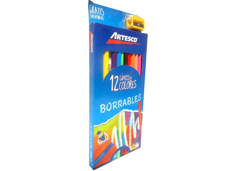 LAPIZ DE COLOR TRIANGULAR BORRABLES 12 UND LARGO + TAJADOR GRATIS