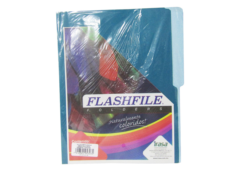 FOLDER BITONO T/CARTA FLASHFILE VERDE AGUA PAQ X 5 und.