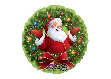 "GLOBO 18"" HX JOLLY SANTA IN WREATH"