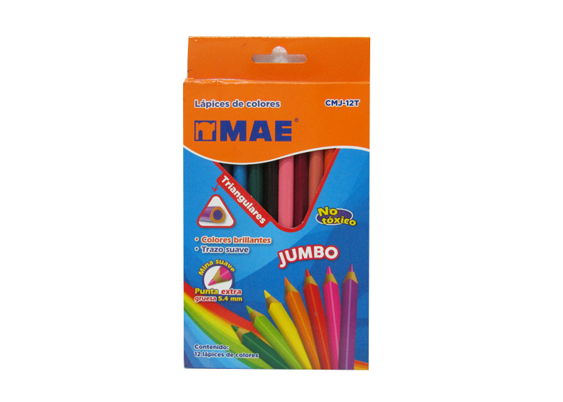 LAPIZ DE COLORES TRIANGULARES JUMBO 12 PZS MINA 5.4mm