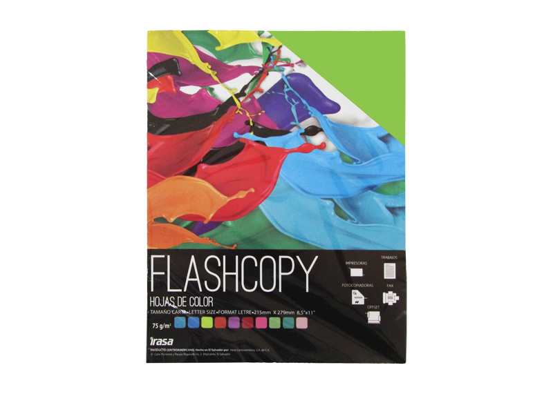 PAPEL BOND DE COLOR FLASHCOPY CARTA VERDE LIMON 100H