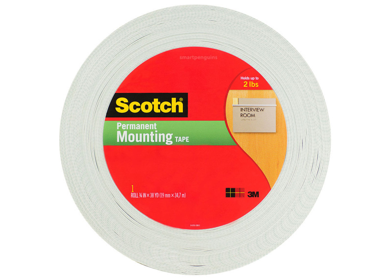 TAPE PARA MONTAJE DOBLE CONTACTO ROLLO 3/4 x 38 YDS DOBLE CARA 1.90CM X 34.2 MT LARGO 7000508743