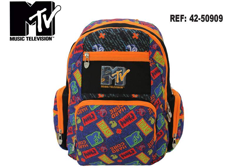 "MOCHILA MTV 16""X12""X6"" ESTAMPADO 5 DEPOSITOS"