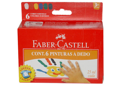 PINTURA DE DEDOS 6 COLORES 25ml x frasco LAVABLE