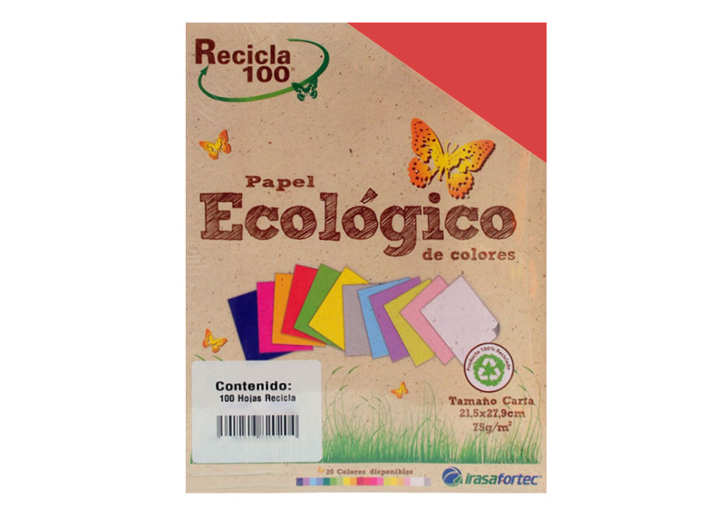 PAPEL BOND RECICLA 100H CORAL INTENSO
