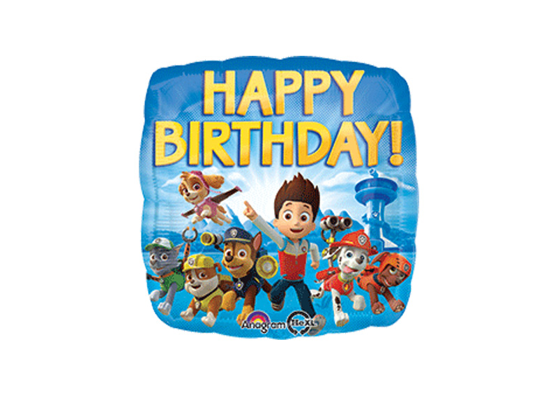 "GLOBO 18"" SQ HX PAW PATROL HAPPY BIRTHDAY"