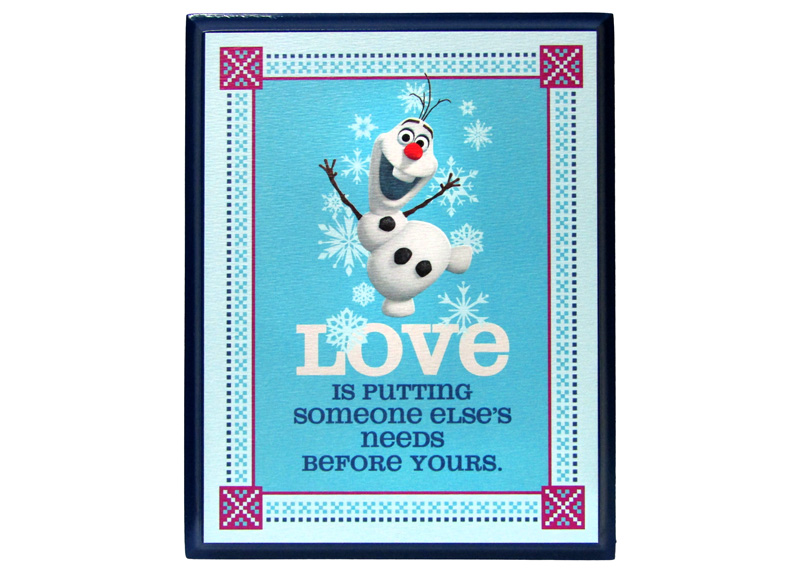 CUADRO DE MADERA FROZEN (OLAF) LOVE IS PUTTING