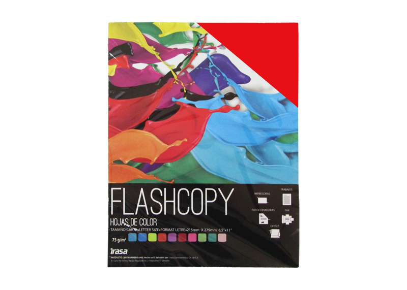 PAPEL BOND DE COLOR FLASHCOPY CARTA ROJO 100H