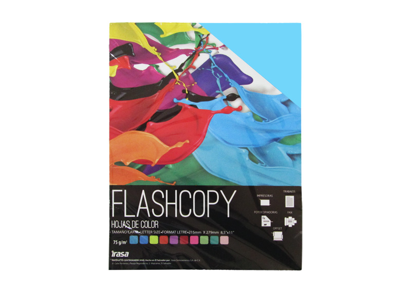 PAPEL BOND DE COLOR FLASHCOPY CARTA CELESTE 100H
