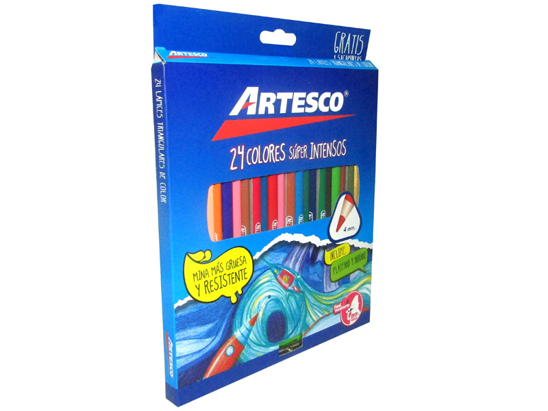 LAPIZ DE COLOR 24 UND LARGO TRIANGULAR MINA 4mm + TAJADOR GRATIS