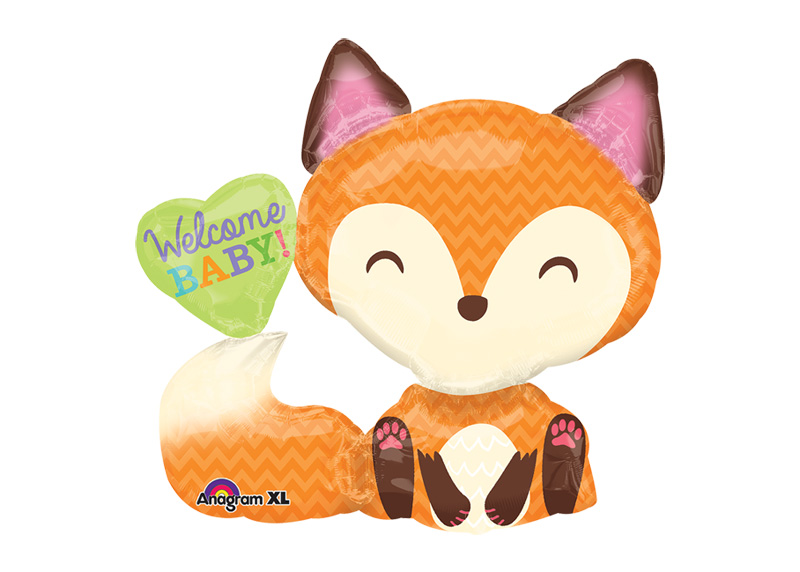 "GLOBO 28"" LRG SHP XL WELCOME BABY FOX"