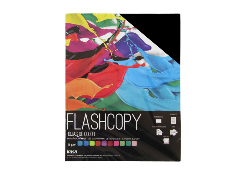 PAPEL BOND DE COLOR FLASHCOPY CARTA NEGRO 100H (7023)