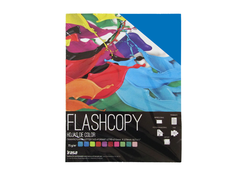 PAPEL BOND DE COLOR FLASHCOPY CARTA AZUL 100H