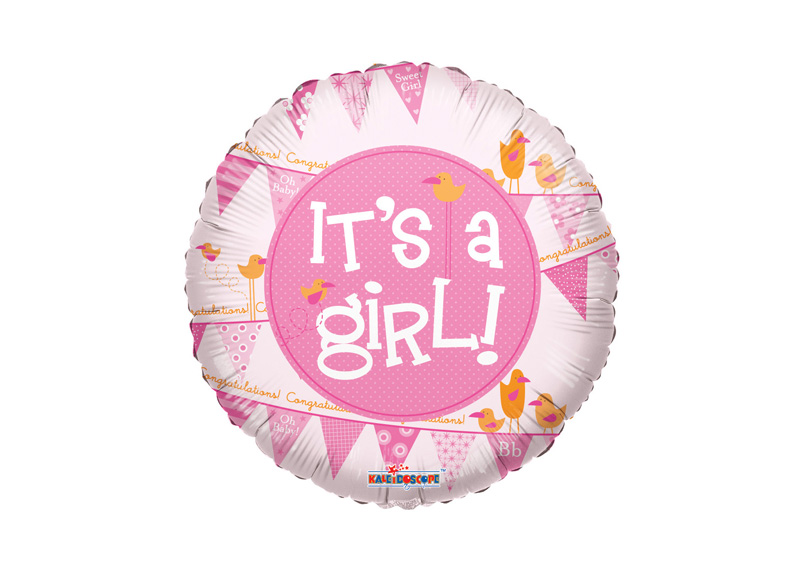 "GLOBO 18"" SL ITS A GIRL PENNANTS"