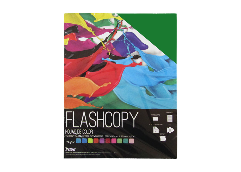 PAPEL BOND DE COLOR FLASHCOPY CARTA VERDE 100H