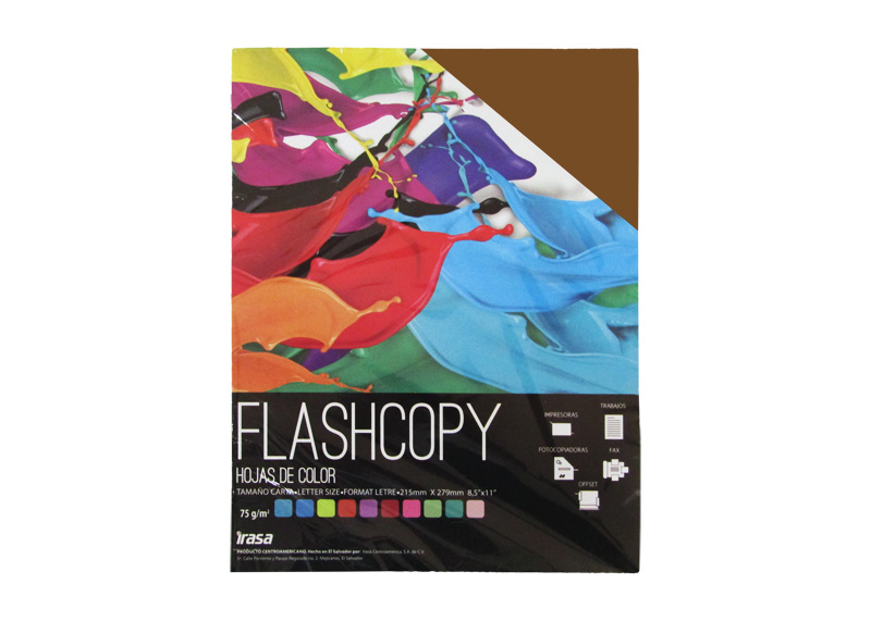 PAPEL BOND DE COLOR FLASHCOPY CARTA CAFE 100H (7024)
