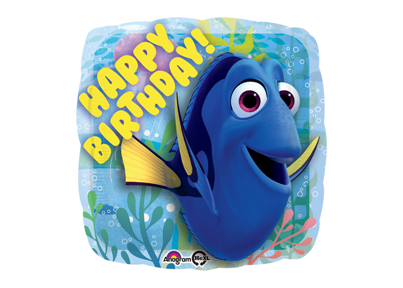 "GLOBO 18"" SQ HX FINDING DORY HAPPY BIRTHDAY"