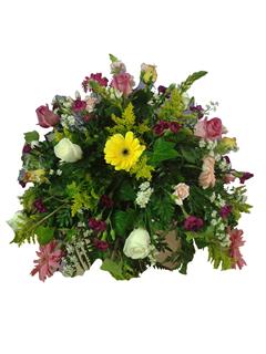 Centro de ataúd flores de colores
