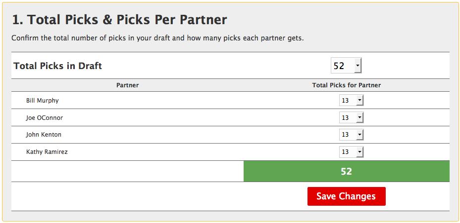 Picks per partner