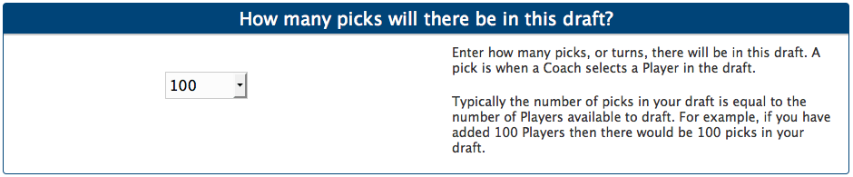 Set the number of picks in the draft