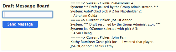 Draft Message Board