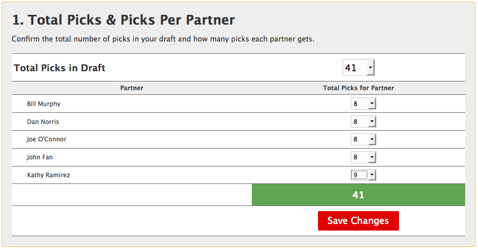 How many picks to share partners get